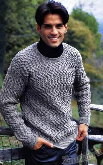 Мужской пуловер с рельефными переплетениями