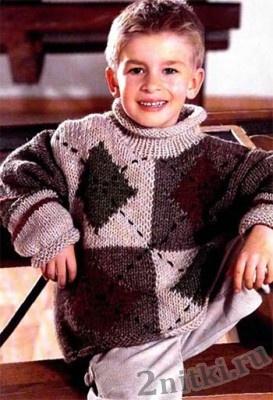 Пуловер для мальчика в технике пэчворк