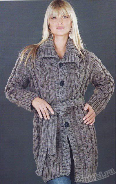 Пальто с поясом узором косы
