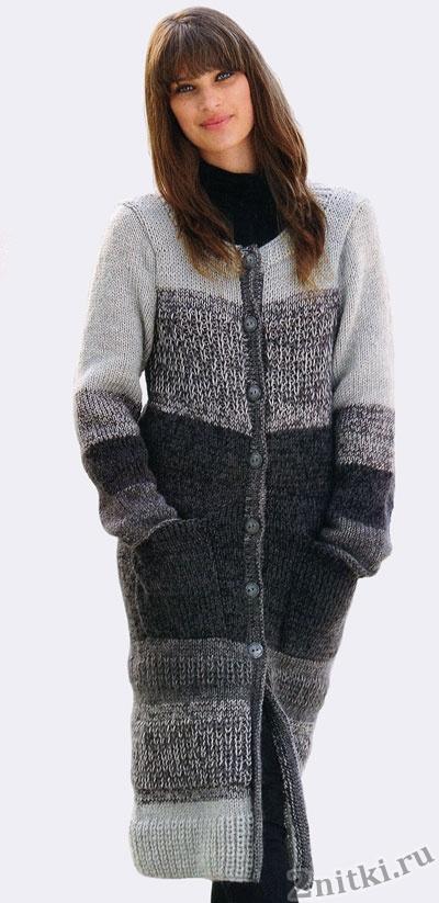 Женское пальто связанное широкими полосами