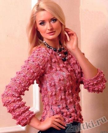 Ажурный пуловер с шишечками