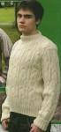 Пуловер светлого цвета рельефным узором