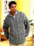 Мужской пуловер узором крупные косы