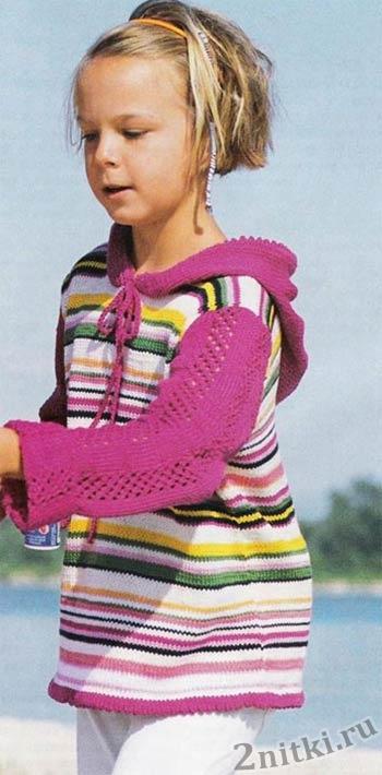 Цветной пуловер с капюшоном