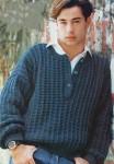 Мужской пуловер с застежкой поло
