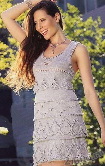 вязание платья воланами