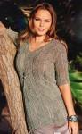 Удлиненный пуловер с коротким рукавом