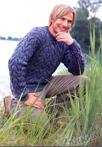 Мужской пуловер с крупным рельефным узором