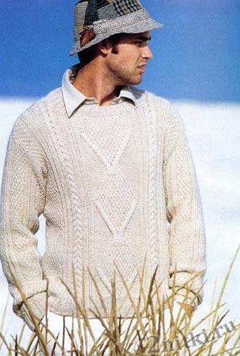 Мужской пуловер с крупными ромбами