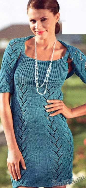 Платье и шраг бирюзового цвета