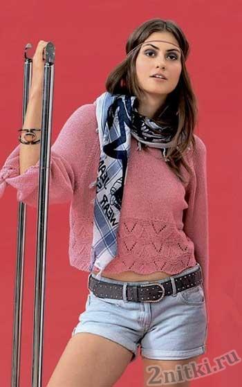 Пуловер с ажурными галочками