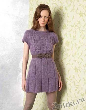 Сиреневое платье-туника с поясом