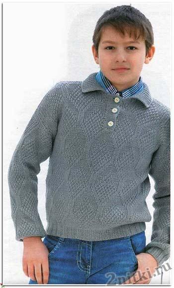 Рельефный пуловер с застежкой поло