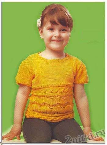 Детский пуловер с поперечным узором