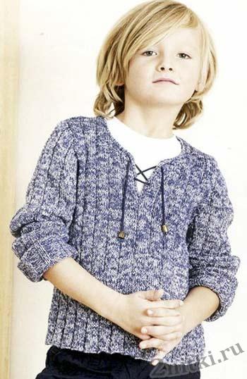 Пуловер из меланжевой пряжи на шнуровке