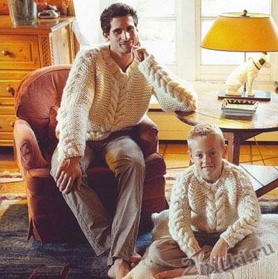 Пуловер для папы и сына