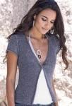 Жакет с короткими рукавами и перекрученными полочками