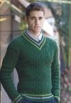 Мужской пуловер с цветной отделкой