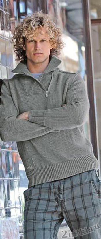 Серый пуловер с воротником