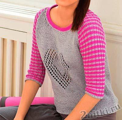 Двухцветный пуловер с сердечком